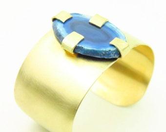 Blue Agate Slice Brass Wide Cuff Bracelet- Geode Bracelet-agate cuff