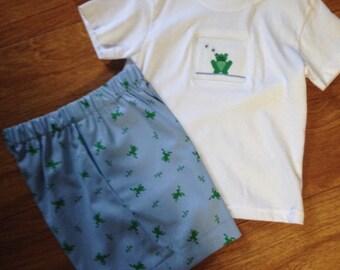 Toddler, boy's smocked short set