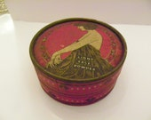 1920's Edna Wallace Hopper Face Powder -  Red Box with Girl