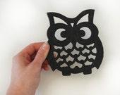 Owl Trivet, black metal vintage owl