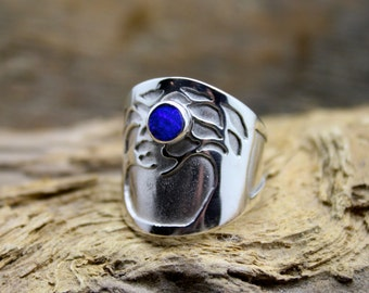Moonlit eve Tree of life, Woodland heart blue opal ring