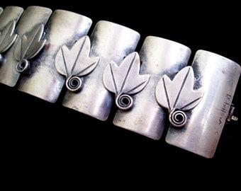 Silver Rebajes Bracelet, Vintage REBAJES Silver LEAF Wide Link Bracelet, Leaf Bracelet, Rebajes Leaf Bracelet, Modernist Silver Bracelet