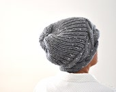 Gray Slouchy Hat Knit Hat Winter Hat Winter Accessories Winter Fashion Grey with Silver Sequins