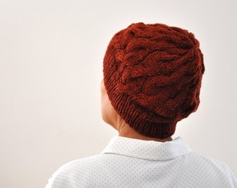 Women Knit Hat, Winter Hat, Cloche Hat, Brick Rust Women Accessories