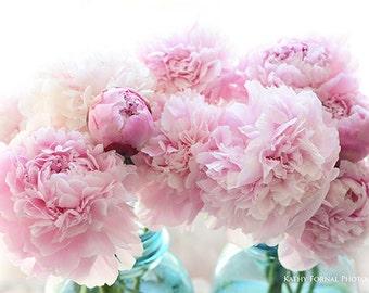 Pink Peony Prints, Shabby Chic Decor, Pink Peonies Mason Jar Prints, Peony Photos, Cottage Pink Peony Art Prints, Pink Peonies Flower Prints
