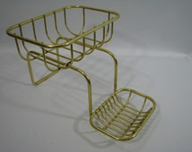 Vintage Brass Over the Claw Foot Tub Bathtub Soap Dish Sponge Holder Rack