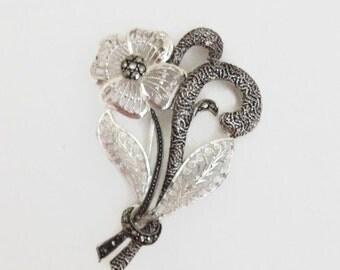 Filagree Flower Brooch, Marcasite and Sterling Silver, Vintage Gift for Her