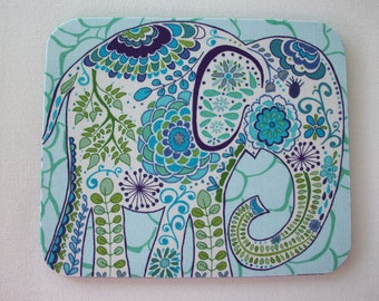 Elephant Mouse Pad mousepad / Mat - Rectangle - Pretty Elephant in blue home office decor coworker friend gift