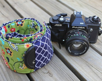 Ready To Ship Monogramming Not Available Extra Long Wide Camera Strap for DSL Camera Green Floral with Navy Reverse and Lens Cap Pocket