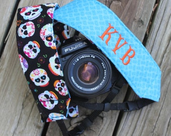 Monogramming Included Camera Strap for DSL Camera Sugar Skull Print With Turquoise Reverse