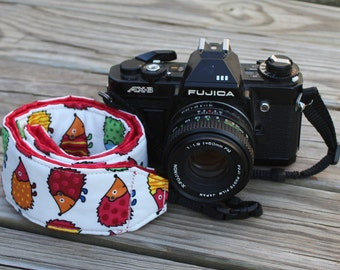 Monogramming Included Camera Strap for DSL Camera Hedgehog Print With Red Reverse