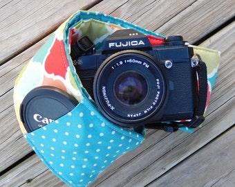 Ready To Ship Extra Long Wide Camera Strap for DSL camera Mult Lattice Print With Polka Dot Reverse And Lens Cap Pocket No Monogram
