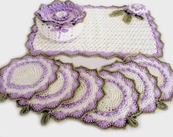 Crochet doily set, Crochet coasters, 9 piece Kitchen Set, Bowl cozy, Kitchen decoration, Place mat set, Hot pad set, Dining decoration set
