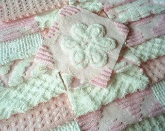 """Vintage Pink and White Chenille Bedspread Squares with White Daisy Flower -21-6"""""""