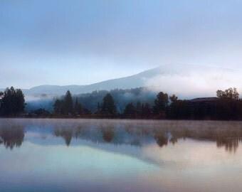 "Landscape photography dreamy purple blue lavender foggy mountain trees mist - ""Lake reflections"" 8 x 10"
