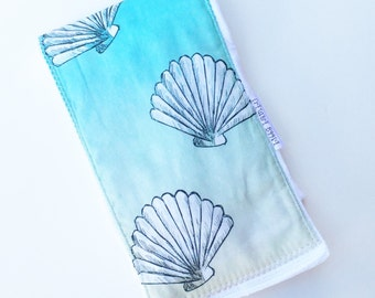 Baby Burp Cloth Ombre Blue - Seashells - Ocean - Nautical Burpie - Boutique Baby Gift - Layette Gift - Hawaii Baby - Gender Neutral