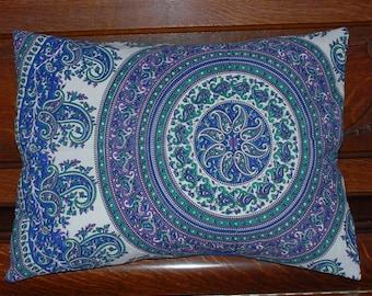 "Hippie Pillow Cover- Cotton Fabric - Purple Blue Raj  - 20"" by 26"" ."