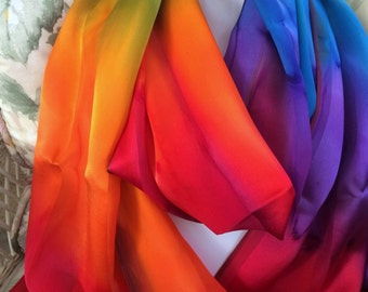 Hand Dyed Rainbow Pride Hand Dyed Silk Scarf Large Size