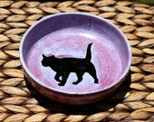 Lovely Handmade Purple Stoneware Bowl with CAT SILHOUETTE