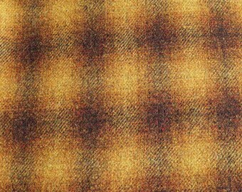 Gold Ombre' Plaid-  Felted Wool Fabric Yard in 100% Wool in a Fat Eighth or Fat Quarter Yard