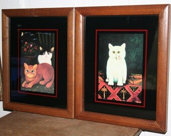 Set of Two Folk Art Cat Framed Wall Pictures / 1978