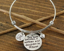 Personalized Bangle Bracelet, Mother/Daughter Bracelet - Silver Bangle Charm Bracelet - Name Bracelet