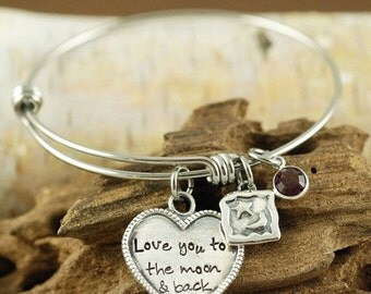 ON SALE Love you to the moon and back Bracelet, Personalized Hand Stamped Bangle Bracelet, Silver Moon and Star Bracelet, Moon and Star Jewe