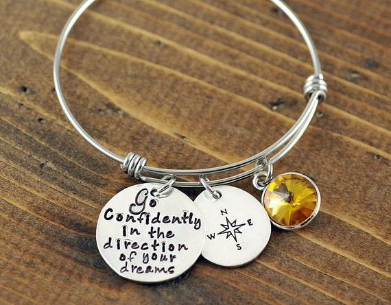 Graduation Gift, Go confidently, In the direction of your dreams, Compass Bangle Bracelet, Hand Stamped Bangle, Adjustable Bangles