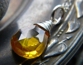 Canary yellow zircon wire wrapped briolette gemstone necklace - handmade sterling silver jewelry