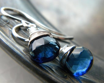 Sapphire blue quartz bright sterling silver earrings - wire wrapped handmade gemstone jewelry