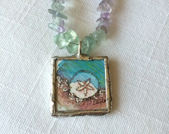 Sand dollar watercolor hand painted illustration labradorite necklace