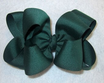 Large Hairbow, Big Hair Bow, Boutique Hairbows, Girls Hair Bows, Baby Bows, Hunter Green Bow, Green Hairbow, Baby Headbands, Layered Bow