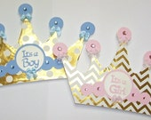 Baby Shower Sign, Party Decor, Its a Boy, Its a Girl, Gold, Blue, Pink, Crown, Tiara, Prince, Princess, Nursery Decor, Baby, Frees Shipping