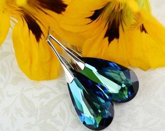 Crystal earrings Bermuda Blue Swarovski Crystals on Sterling Silver Lever back earings by art4ear, women's jewelry, gift idea for her, ocean