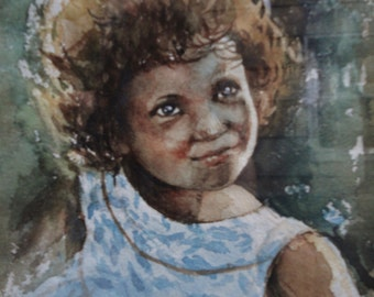 Cutiest African American Girl Portrait Watercolor C1968