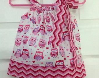 Ready to Ship!  Adorable Owls Pillowcase Dress 3 months