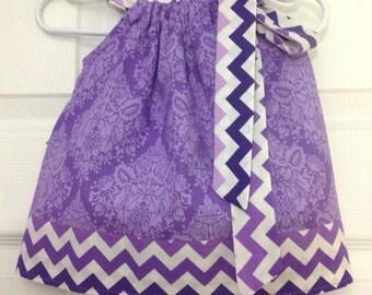 READY TO SHIP Purple Damask Pillowcase Dress Size 3 months
