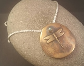 Bronze Disc with Brass Dragonfly Totem and Labrodorite Pendant