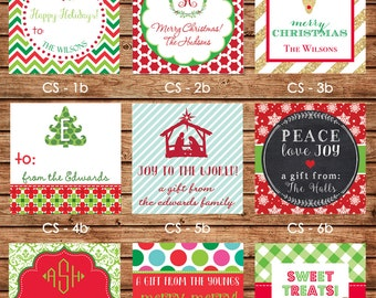 NEW DESIGNS! 24 Square Personalized Christmas / Holiday Enclosure Cards or Gift Stickers - Choose One Design