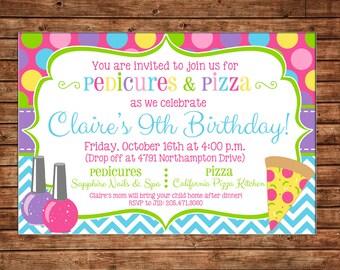Girl Pedicure Pedi Spa Salon Pizza Party Birthday Invitation - DIGITAL FILE