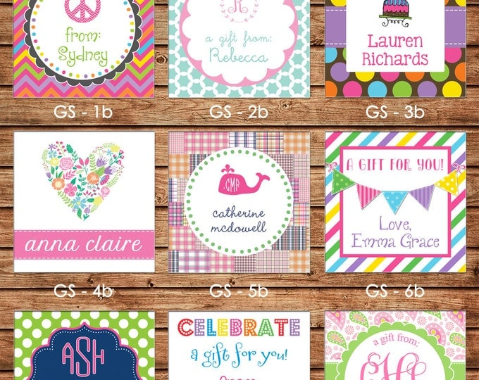 NEW DESIGNS! 24 Square Personalized Girl Enclosure Cards or Gift Stickers - Choose One Design