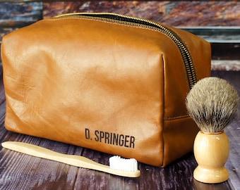 Personalized Dopp Kit - Mens Toiletry Bag - Leather Toiletry Bag - Groomsman Gift - Tan