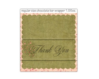 Heart Thank You Regular Candy Bar Wrapper, fits 1.55 oz. bar - Digital Printable - Immediate Download