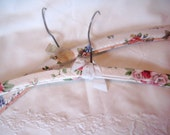 Vintage clothes hangers, set of 2 hangers, floral vinyl hangers, retro hangers, shabby hangers plastic covered hangers mid century hangers