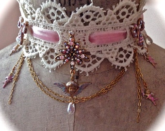 Antique Lace Choker with Sparkling AB Crystals Gothic Lolita Fairy Princess Enchanted Goddess Pink Courtesan