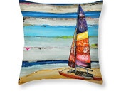 Sailboat at beach throw ART PILLOW, Portland Maine, home decor pillow, summer gift for her, Christmas gift, coastal decor gift