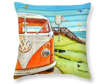 Vw Volkswagen Van Bus at beach throw ART PILLOW, home decor pillow, housewares, summer gift for her, Christmas gift, coastal decor gift
