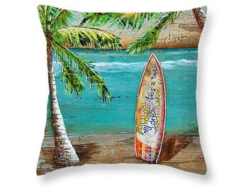 Surfboard at Beach Palm Trees throw ART PILLOW, Portland Maine, home decor pillow, summer gift for her, Christmas gift, coastal decor gift