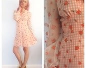 STORE SALE Vintage 70s Peach Rose and Gingham Mini Babydoll Dress