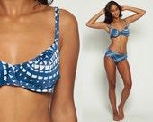 Two Piece Swimsuit 70s Bikini GEOMETRIC PRINT Bathing Suit Mod High Waist Swim Boho Vintage Retro Boyshort Pin Up 1970s Blue Large